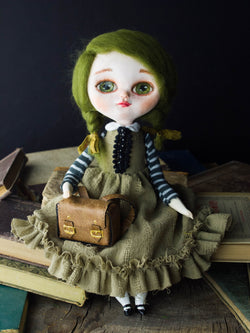 Clarissa, an original handmade art doll inspired by a little school girl full of dreams and lots of love, handmade by Danita Art.