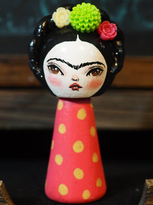 FRIDA CATRINA - Original Kokeshi art doll by Danita Art, Miniature Dolls by Danita Art