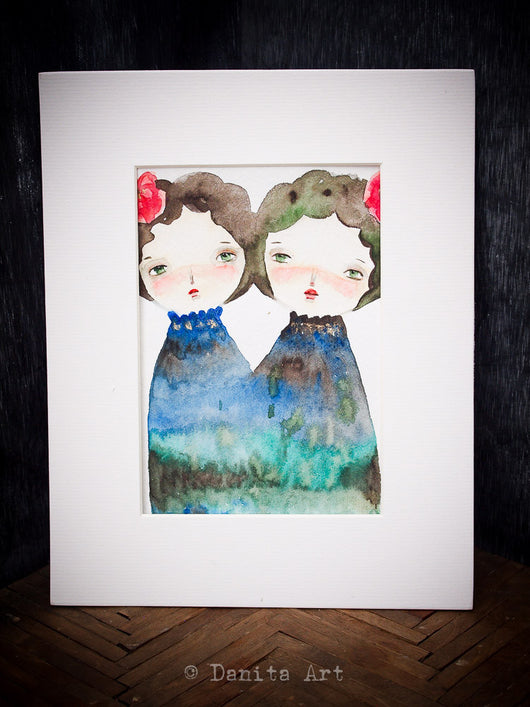 Twin sisters, an original watercolor on paper painting by Danita, celebrating the special bond that exists between your special sister.