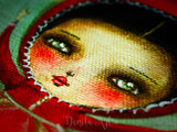 You will fall in love with this interpretation of Little red riding Hood on an original mixed media painting by Danita
