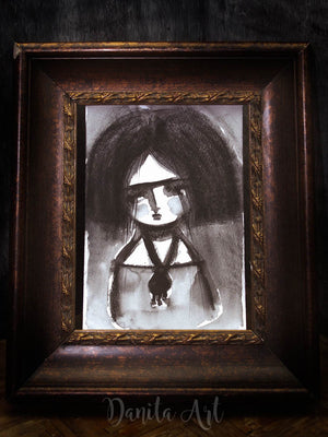 Frida in Black, Original Art by Danita Art