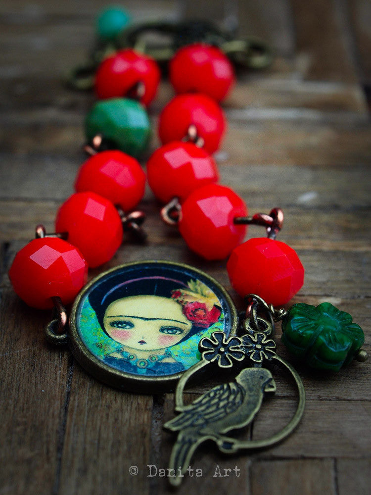 Frida and the bird, Jewelry by Danita Art