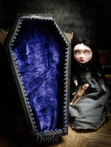 An original Halloween art doll, a girl in a velved lined coffin by Danita Art