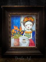 Frida sitting with red flowers, Original Art by Danita Art