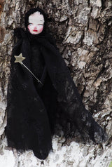 An original handmade art doll made in fabric and clay by Danita Art. Witches, Sorceress, Magician... So many names for the powerful ones that know how to speak to nature and master the mystical arts. She means no harm... Except the harm you mean to her when you meet in the woods.
