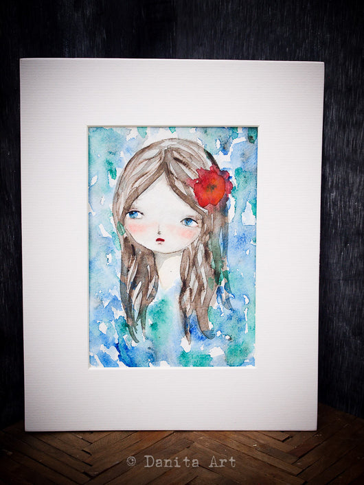 Inspired by my daydreaming, I created a beautiful watercolor portrait of a girl in a waterfall.