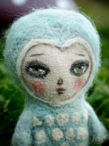 Leo the owl is a beautiful hand felted wool art doll, created with bright eyes and a lively face by the talented Danita Art
