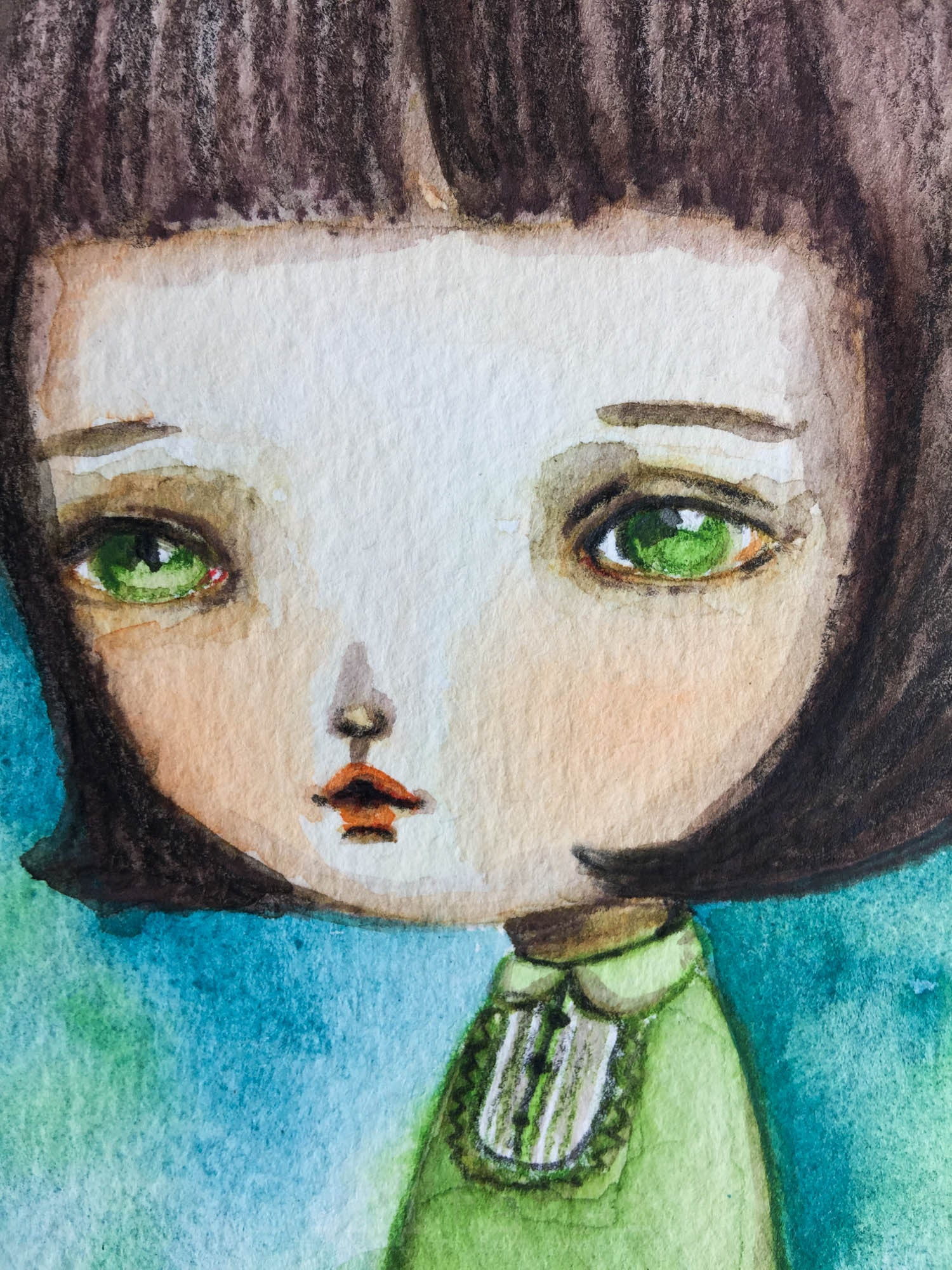 BRIGHT EYED GIRL, Original Art by Danita Art