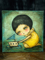 The yellow boat, an original mixed media painting by Danita Art