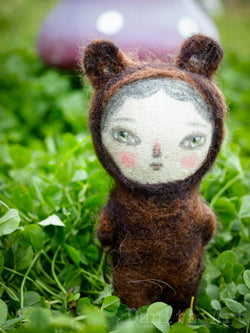 Rosco the bear roams the wooldands created by Danita Art with Fabric, needle felted wool, pencil and paints and lots of love.