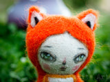 Foxy is a very sly fox covered in needle felted wool and with a beautiful face, bright eyes and lots of love, created by the amazing hands of Danita Art