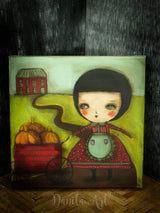 A little girl is bringing her pumpkin harvest to the farmers market on this pop surreal painting by Danita Art.