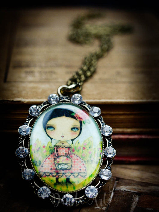 Sweet peas is a beautiful folk art style necklace, hand crafted by the talented hands of Danita Art