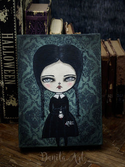 Wednesday Addams, surreal mixed media painting by Danita Art
