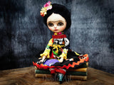 Frida with skulls, Art Doll by Danita Art