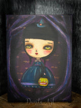 A little witch is getting ready for trick-or-treat on Halloween night on this original painting by Danita Art