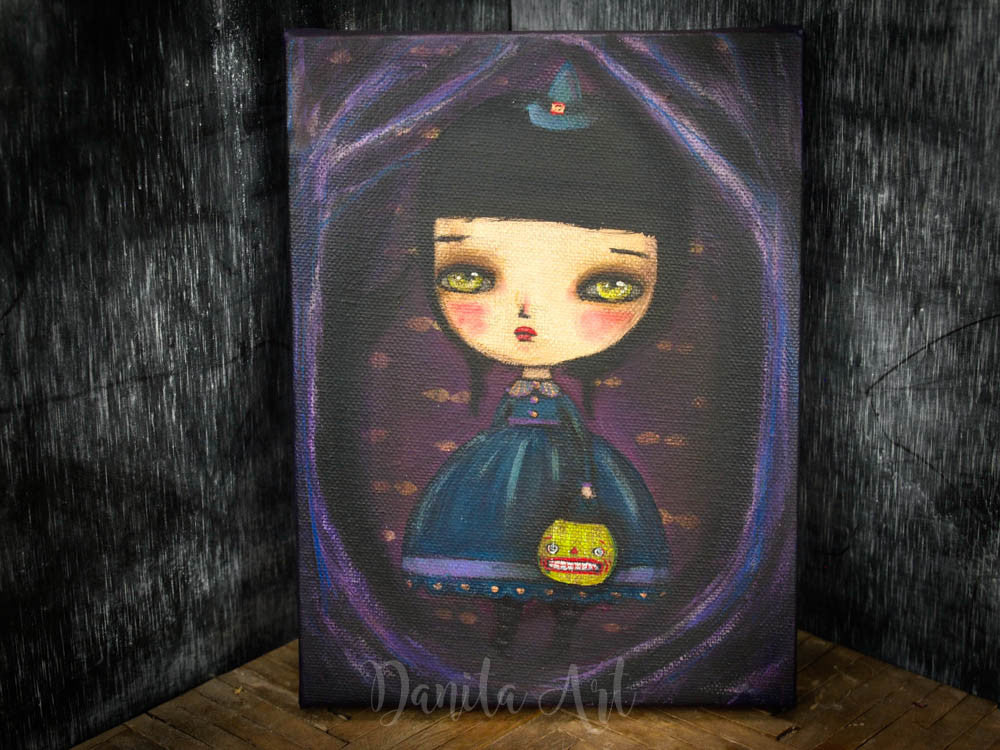 A witch in the forest, Original Art by Danita Art