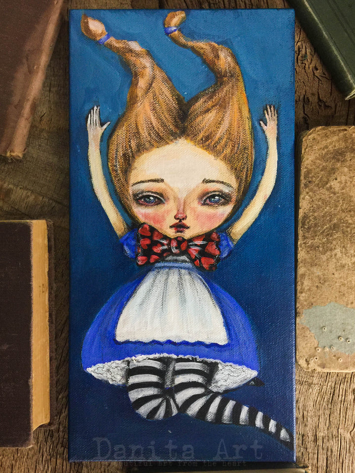Alice appears many times on my original art, I just love the character and her adventures on Wonderland are the perfect setting for surreal and whimsical mixed media paintings by me, Danita!