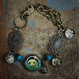 Frida in turquoise and gold, Jewelry by Danita Art
