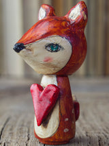 A beautiful deer woodland creature kokeshi art doll, handmade by Danita Art.