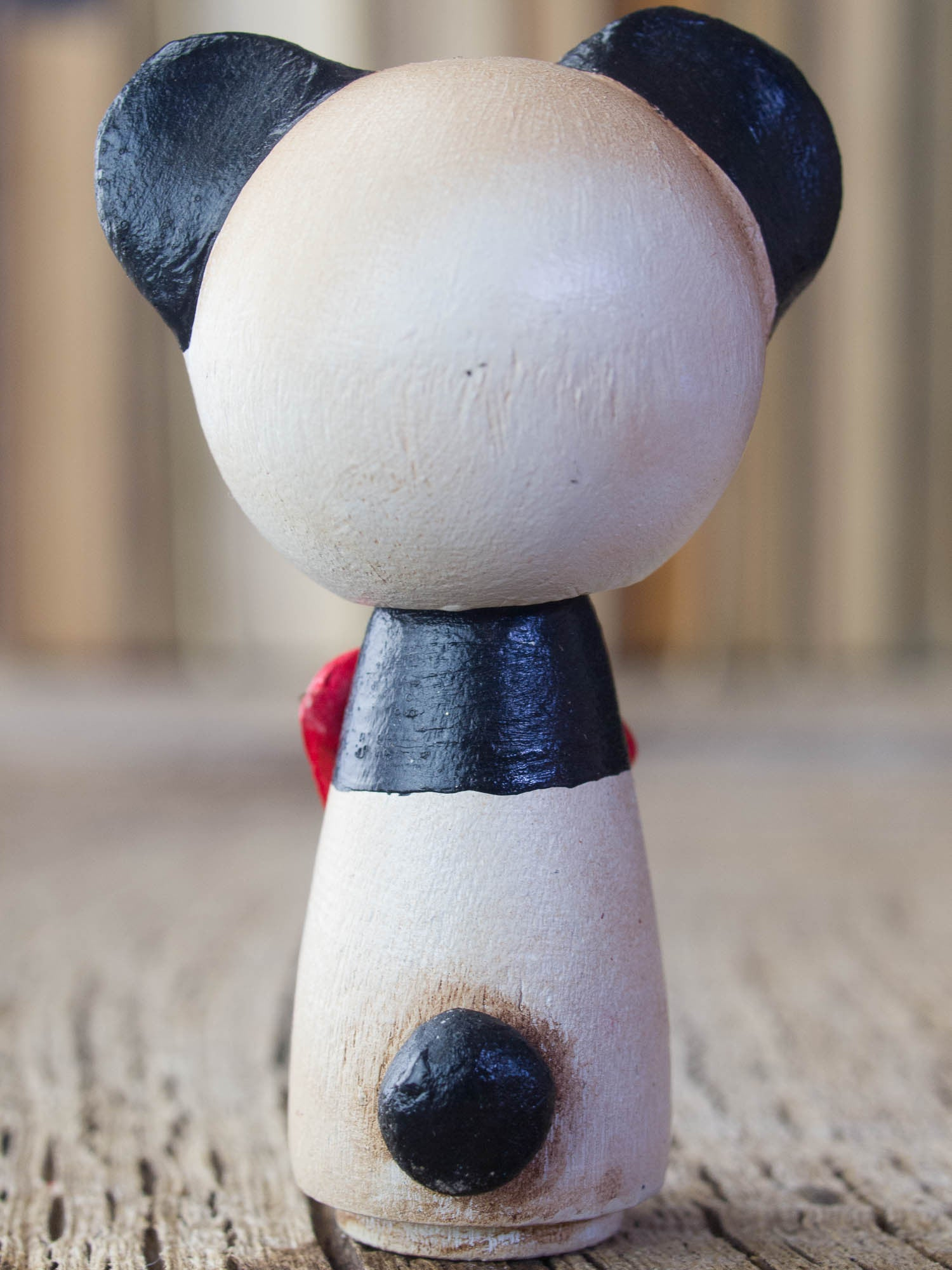 A beautiful panda woodland creature kokeshi art doll, handmade by Danita Art.