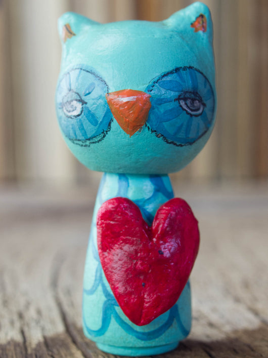 A beautiful owl woodland creature kokeshi art doll, handmade by Danita Art.