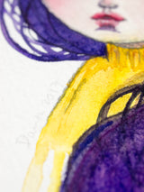 A beautiful surreal girl with purple hair materialized on Danita's latest watercolor painting art.