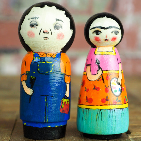 Frida y Diego - Wood Kokeshi art dolls by Danita