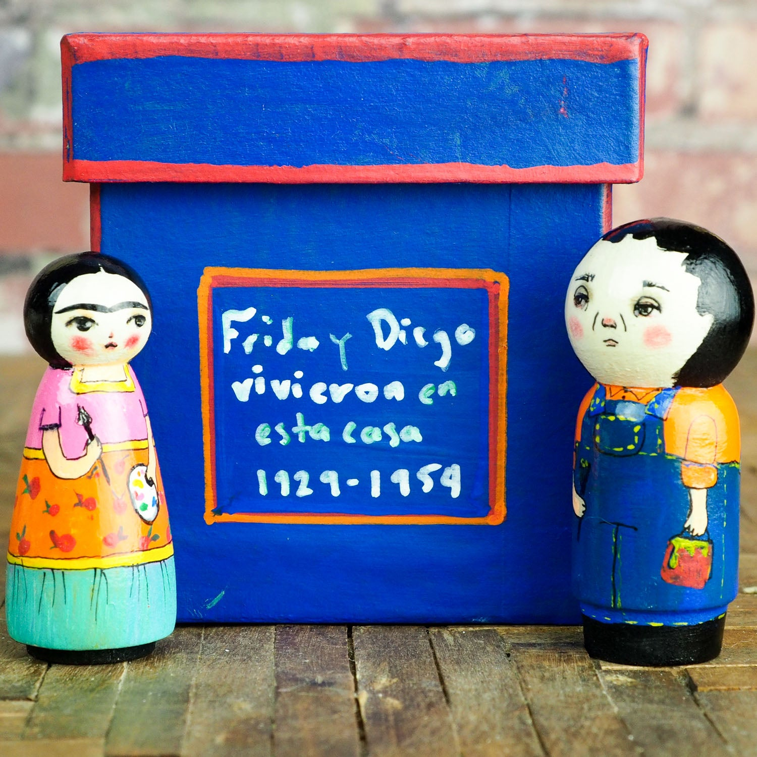 Frida y Diego - Wood Kokeshi art dolls by Danita, Miniature Dolls by Danita Art
