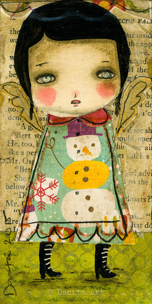 An angel for a snowman, Art Prints by Danita Art