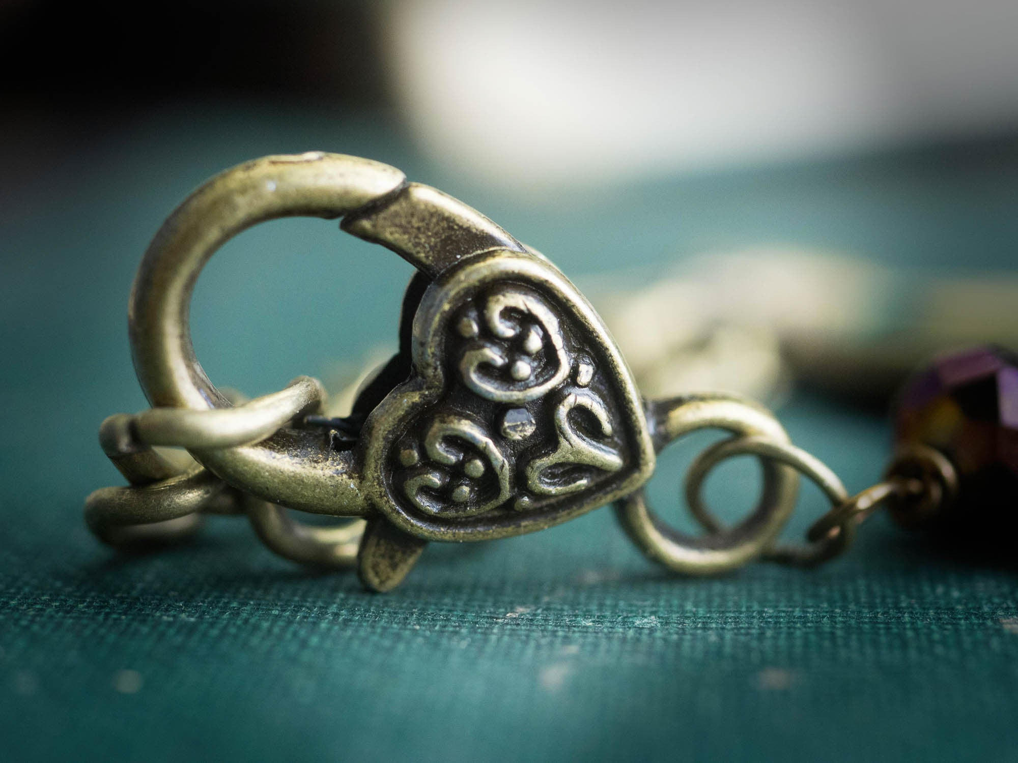 Heart shaped clasp completes the lovely and romantic look of Danita's original jewelry, totally handmade in Danita's studio.
