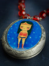 Wonder Woman comic super hero is featured on a Danita original jewelry wearable art necklace