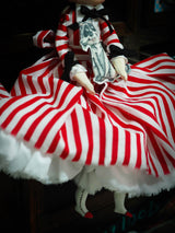 Red and white striped dress on this art doll by Danita Art