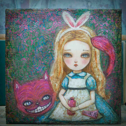 Danita Alice wonderland original Painting Mixed Media Bunny Rabbit Cheshire Cat Art Surreal surrealist