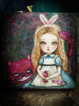 Danita Art Alice In Wonderland Cheshire Cat original mixed media painting