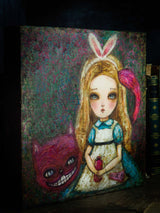Alice in Wonderland by Danita art, original painting illustration acrylic paper collage mixed media