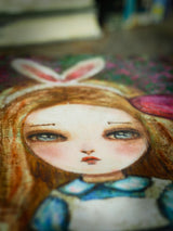 White rabbit bunny girl Alice in Wonderland Illustration Painting Danita Mixed Media Acrylic Pastels Oils drawing