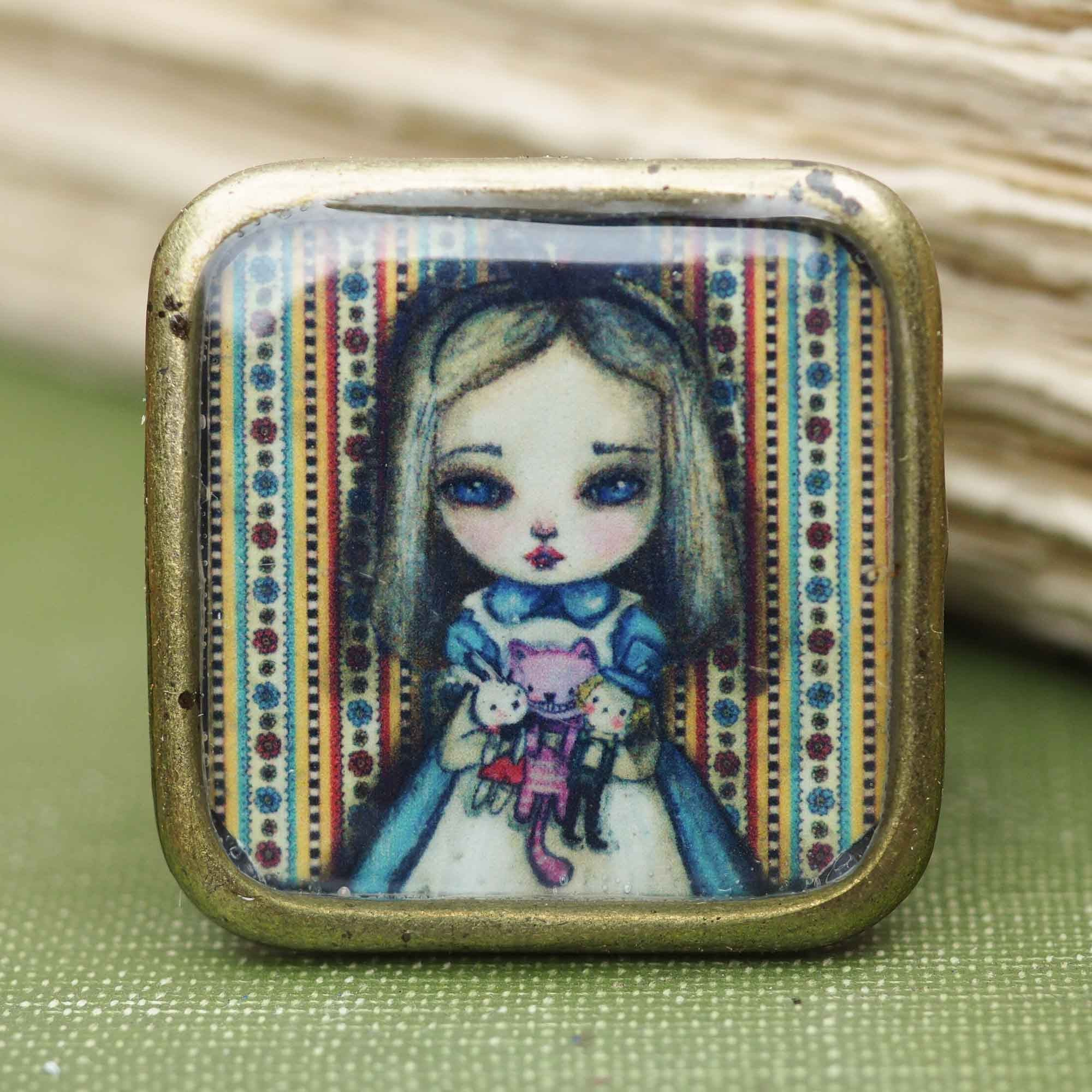 Alice and friends square ring, Jewelry by Danita Art
