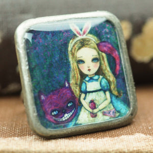 Drink Me - Alice in wonderland square ring, Jewelry by Danita Art