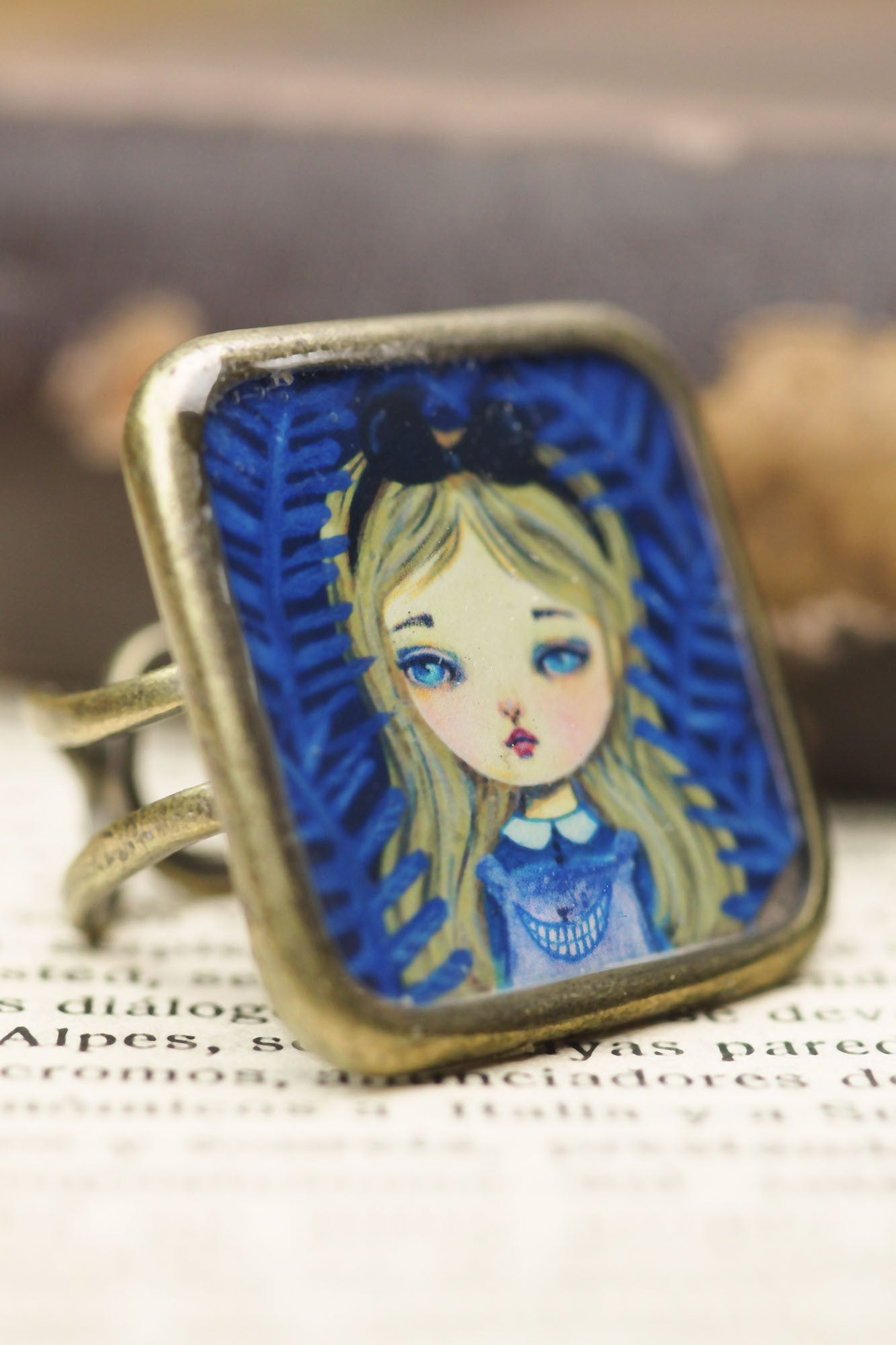 Alice in wonderland and the Cheshire cat square ring, Jewelry by Danita Art