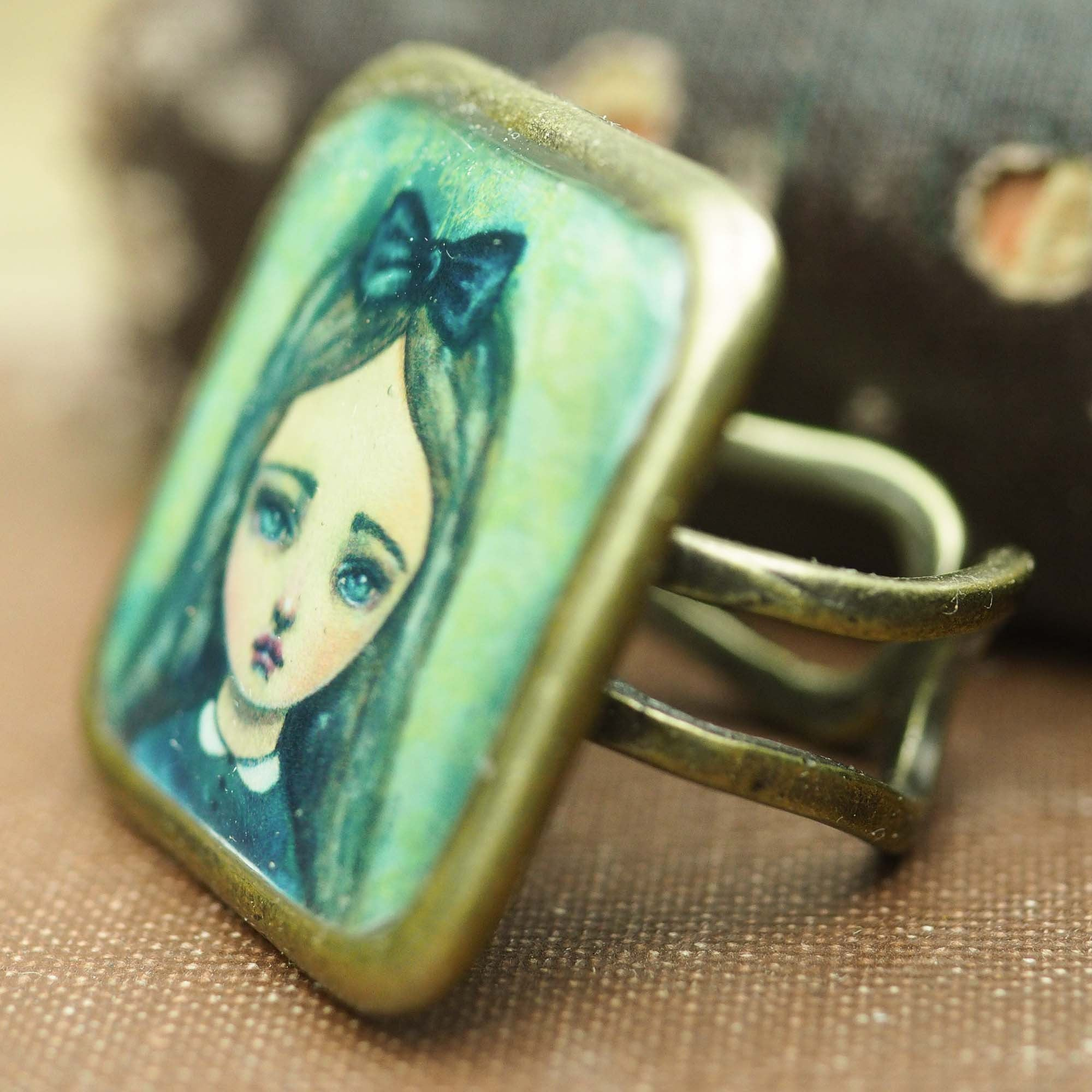 Ask Alice square ring, Jewelry by Danita Art