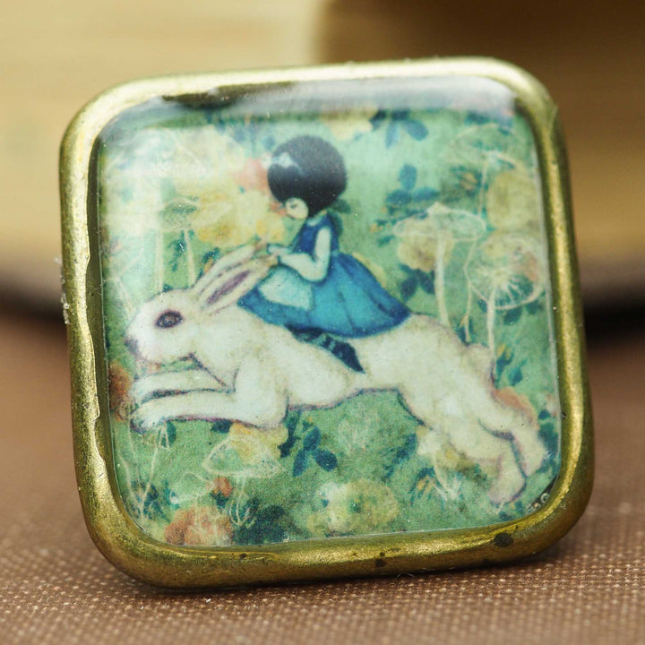 Danita jewelry art ring Alice in Wonderland White Rabbit surrealist mixed media painting