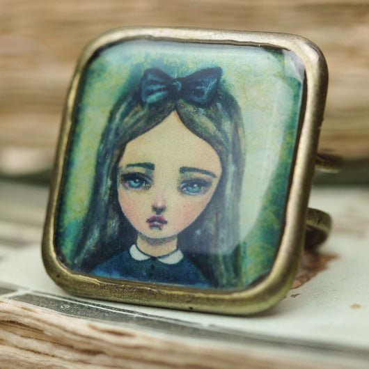 Alice in wonderland watercolor art by Danita on a handmade adjustable metal brass ring jewelry