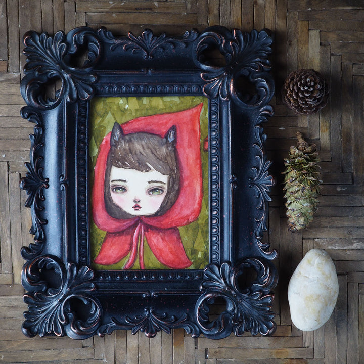 Red riding wolf, Original Art by Danita Art