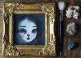 Original Danita watercolor painting girl portrait monochrome black and white