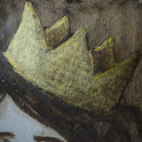 Detail of Danita mixed media crown in gold and brown. Part of the Queen, an original painting.