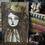 Danita painted the Queen, a beautiful mixed media watercolor and paper collage assemblage original painting illustration.