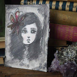 Danita art painting drawing girl charcoal graphite pencil original mixed media illustration girl child flower