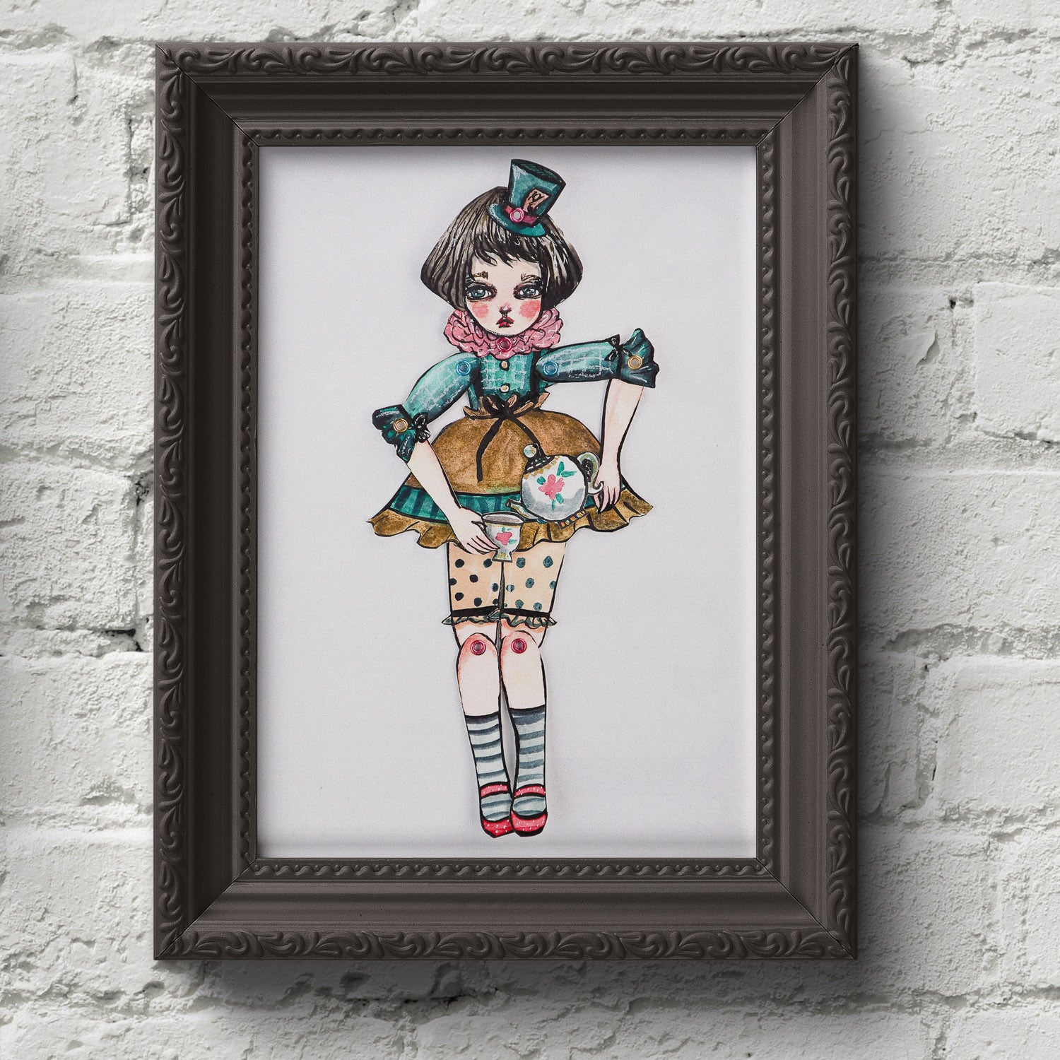 The mad hatter original Alice in wonderland watercolor painting danita