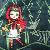 Little red riding hood art doll by Danita Art. A watercolor painting handout and assembled as a paper art doll.